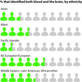 % by ethnicity - identified both blood and the brain